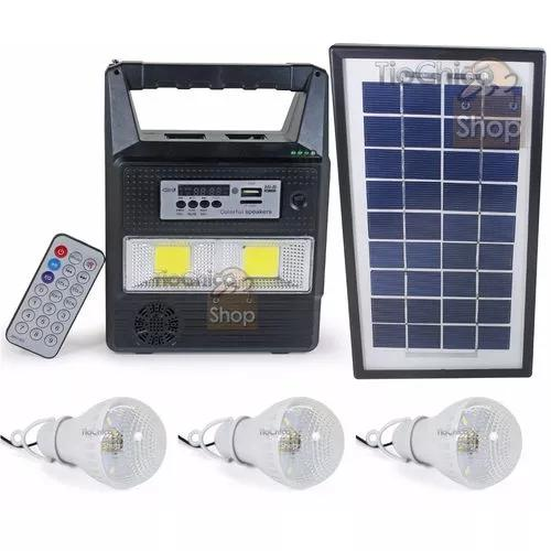 Kit placa solar rádio fm usb bateria + 3 lampadas led bulbo