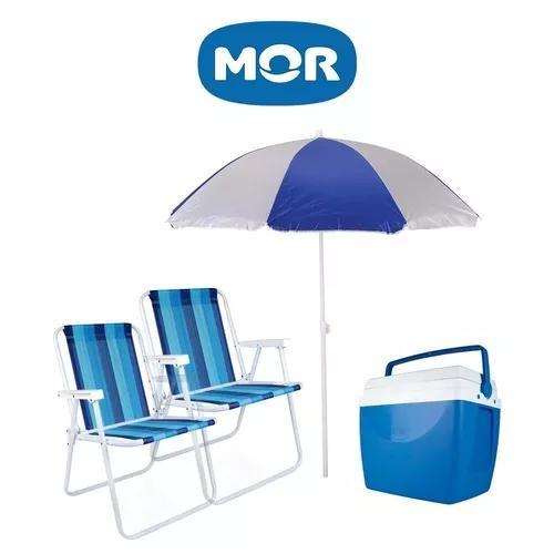 Kit praia completo guarda-sol cadeira caixa termica