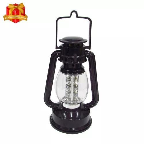 Luminária lampião 16 led elétrica e pilha recarregável