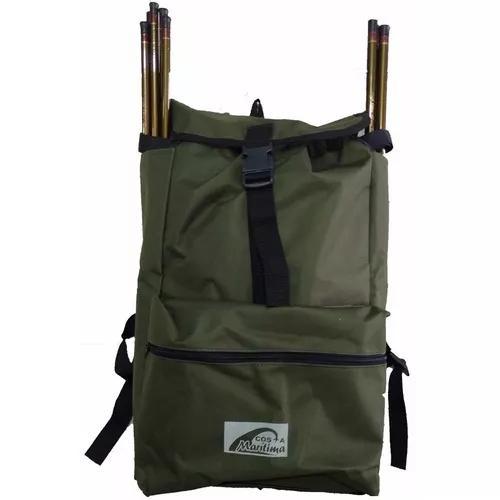 Mochila pescador para pesca e camping c/bolso porta varas