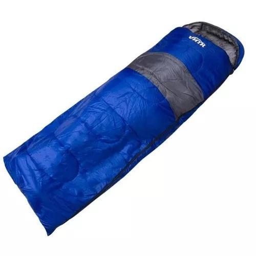 Saco de dormir térmico azul com capuz vntr 0 a 15 graus