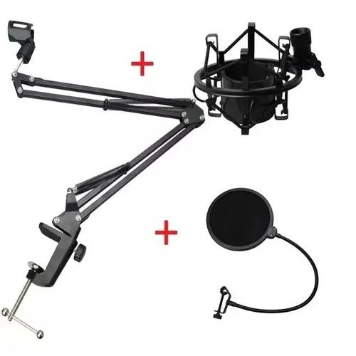 Braço suporte para microfone + aranha + pop filter