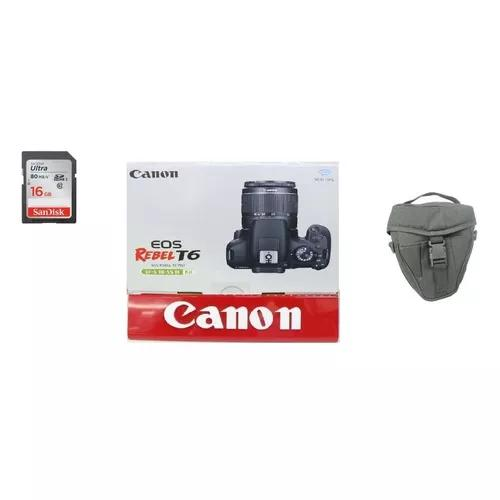 Camera canon t6 com 18-55 mm iii c/bolsa+16gb-pronto entrega
