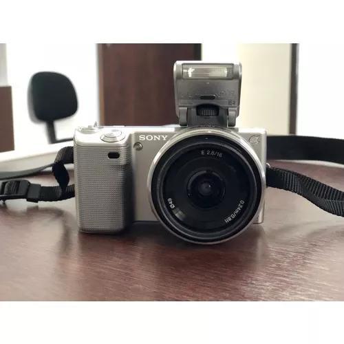 Camera sony alpha nex 5d lentes 16 f/2.8 e 18-55 f/3.5-5.6