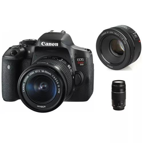Canon t6i 18-55 is stm + ef 75-300mm iii + 50mm f/1.8 stm