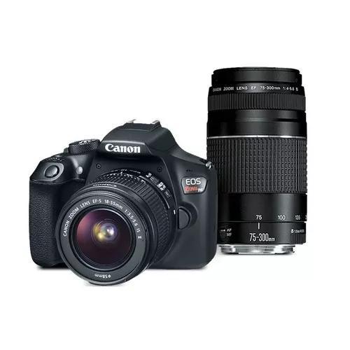 Kit câmera canon t6 18-55 + ef 75-300mm iii canon brasil