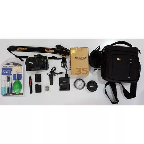 Kit câmera nikon d7100 lente 35mm objetiva dx 18-105mm
