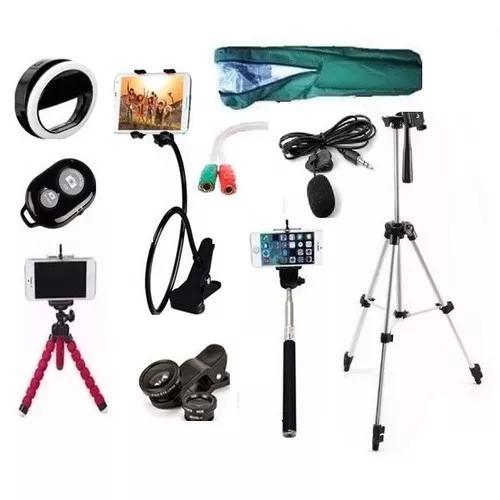 Kit youtuber microfone lapela celular+tripé1,20m anel flash