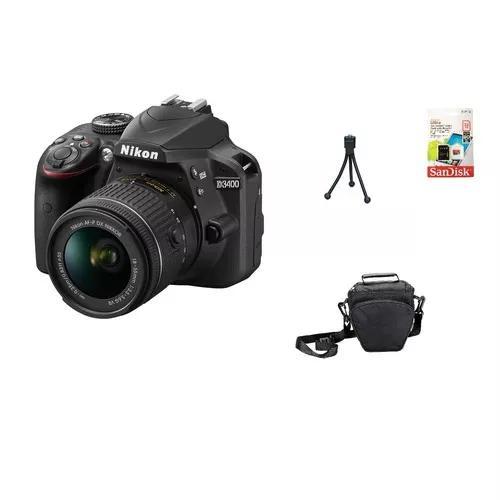 Nikon d3400 + 18-55mm + 32gb + bolsa + tripé garantia nova