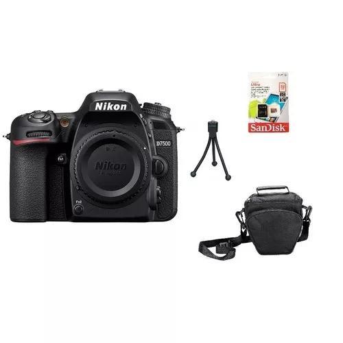 Nikon d7500 (corpo) 4k wi-fi + 32gb + bolsa + tripé s