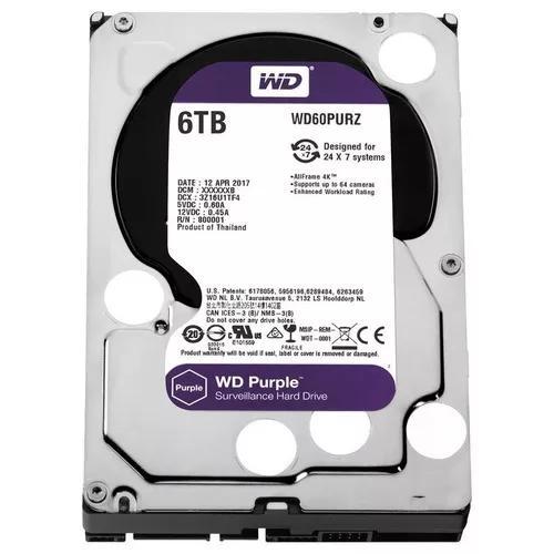 Hd wd western digital purple 6tb 64mb sata p/ dvr intelbras