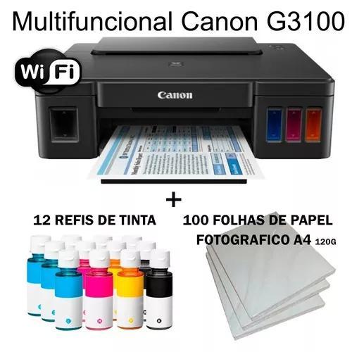 Multifuncional canon g3100 wi-fi c/ 12 refis + brinde +nf