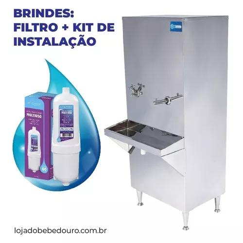 Bebedouro industrial coluna aço inox 50 litros filtro