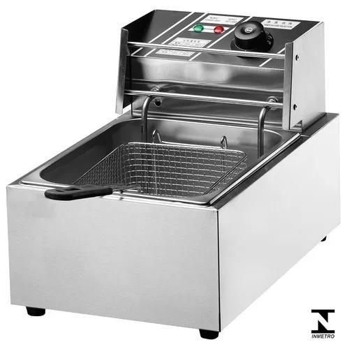 Fritadeira elétrica 1 cuba 6 litros 220v nova com tampa