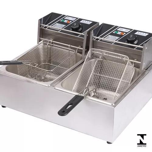 Fritadeira elétrica 2 cubas 12 litros 220v com tampas