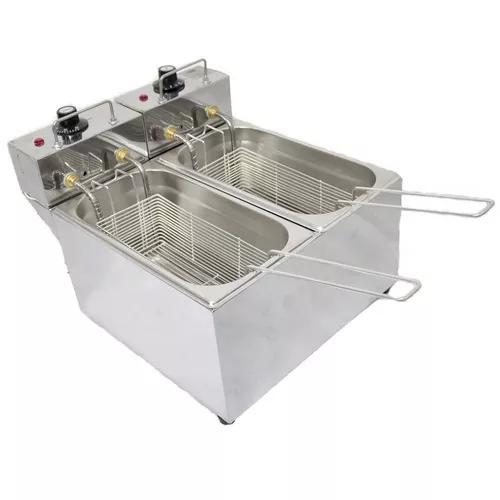 Fritadeira elétrica 2 cubas inox 6lts 220v c/ tampas