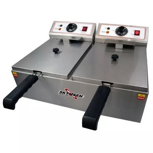 Fritadeira elétrica dupla skymsen 2x5,5l fed-20-n inox-220v