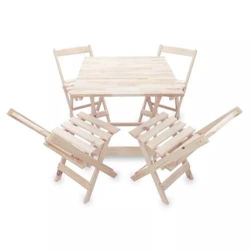 Jogo de mesa 70x70 c/4 cadeiras madeira dobrável