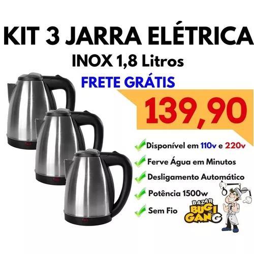 Kit 3 jarras elétrica inox 1,8l 110v e 220v frete grátis