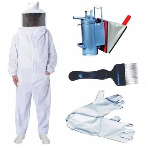 Kit apicultor macacão de brim + luva + fumigador + garfo