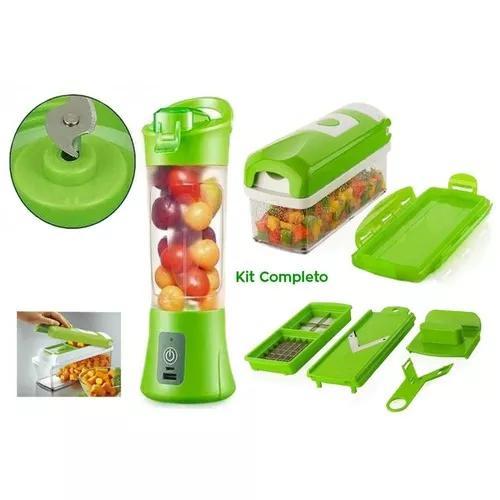 Liquidificador portátil + cortador fatiador legumes frutas