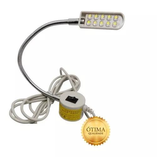 Luminária lampada 10 led c/ haste flexível maquina costura