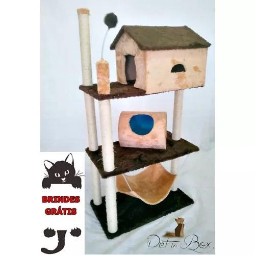 Arranhador apartamento com casa rede toca 3 andares gatos