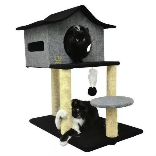 Arranhador casa cuco grande para gatos preto cinza