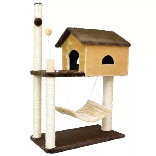 Arranhador casa gatos gigante house com rede pronta entrega