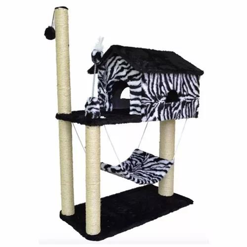 Arranhador Casa P/ Gatos Gigante House Com Rede Zebra