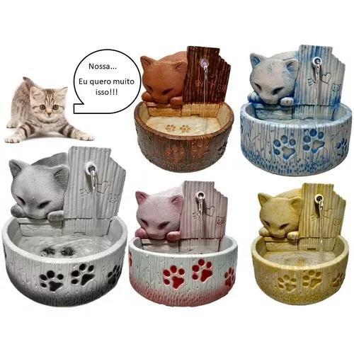 Bebedouro para gato fonte de água 8 cores disponiveis
