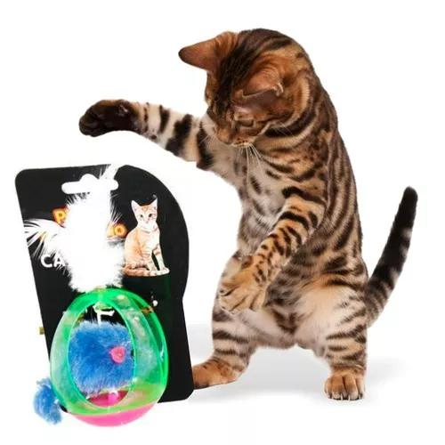 Bolinha com ratinho p/ gatos com pena 37g plastico