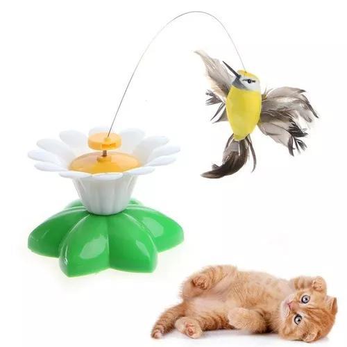 Brinquedo gato passaro borboleta giratório eletrônico