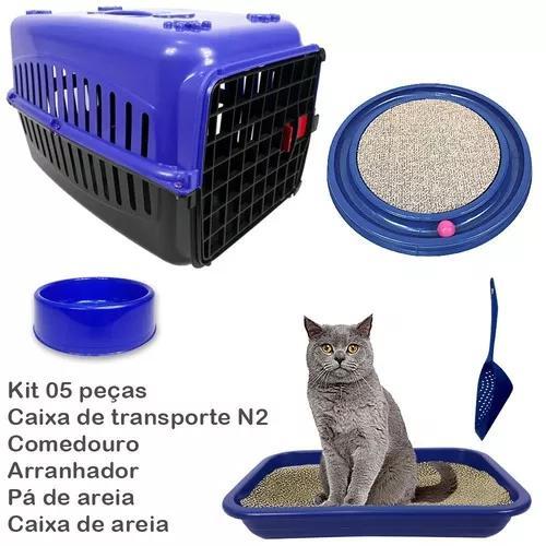 Caixa transporte gatos arranhador caixa areia bebedouro pá