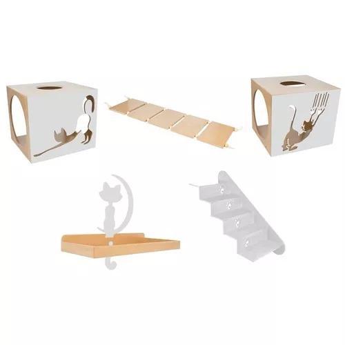 Circuito para gatos ponte escada prateleira nicho cinza