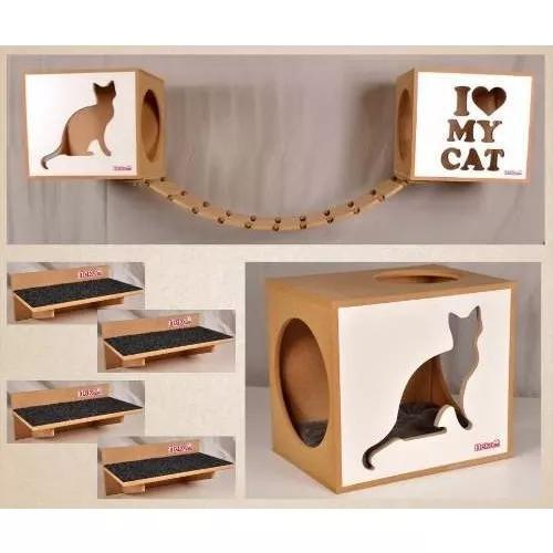 Kit 02 nichos gatos almofada +ponte+04 prat fte branca/preta