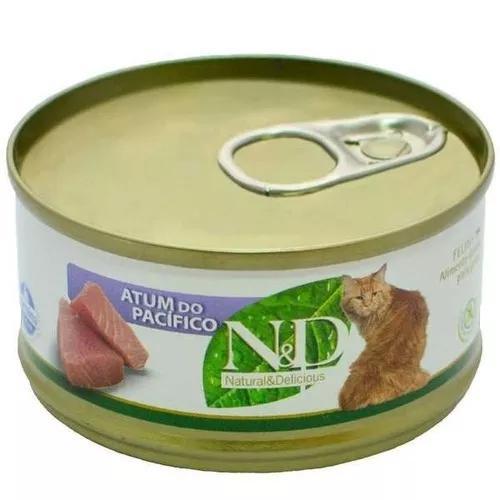 Kit 12un ração úmida nd lata gato sabor atum do pacifico