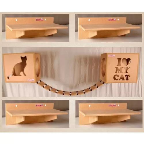Kit 2 nichos gatos + ponte + 4 prat s/carp mdf cru cj 07