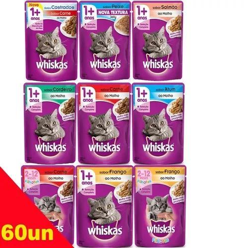 Kit 60 sachê whiskas gatos sabores variados à sua escolha