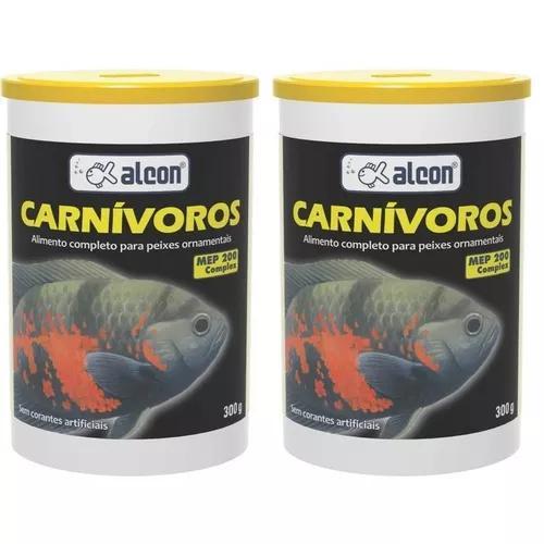 Kit com 02 unid ração para peixes carnívoros alcon 300g
