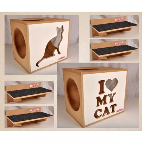 Kit nicho gatos 2+4 prat arranh frt branca/preta cj 06 pçs