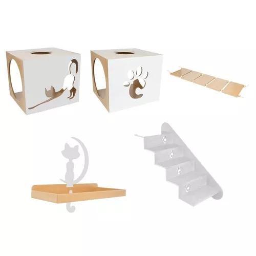 Nicho + escada + prateleira + ponte cinza claro gatos pet