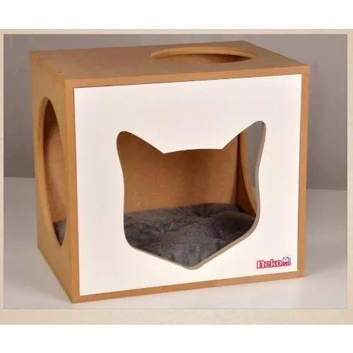 Nicho toca gatos com almofada - frente branca ou preta mdf