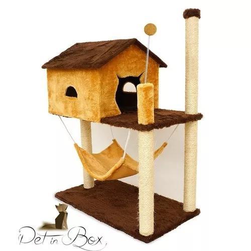 Promoçao arranhador casa casinha com rede gato brinquedo