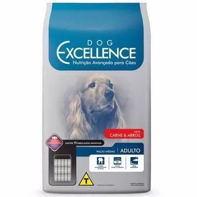Ração dog excellence cães adultos rç méd carne arroz