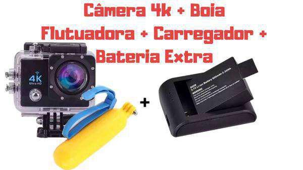 Camera 4k + boia flutuadora + carregador + bateria