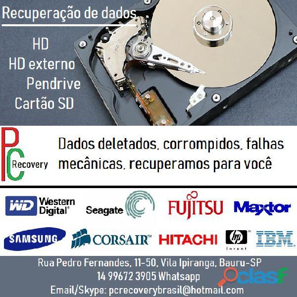 Recuperação de dados de hd, hd externo, pendrive e cartão sd. bauru sp
