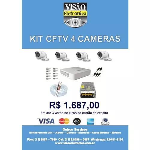Kit 1 dvr com 4 câmeras com mão de obra