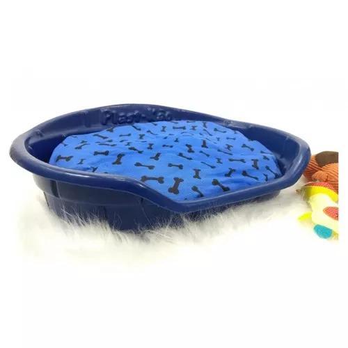 Cama plástica oval cães e gatos plast-kão n. 3 azul - n.