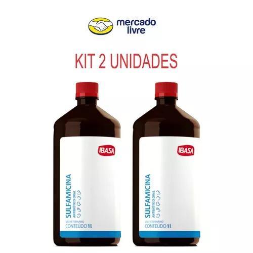 Kit 2 unid. sulfamicina coccidiose e coriza 1lt promoção